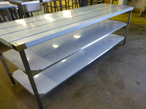 2200mm centre bench with twin undershelves, on adjustable feet