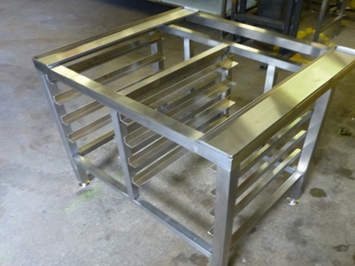Combination oven stand with runners for 1/1 gastronorm storage, on adjustable feet